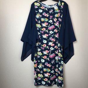 Dresses & Skirts - Floral Dress w/ Sheer Floaty Sleeves in Medium NWT